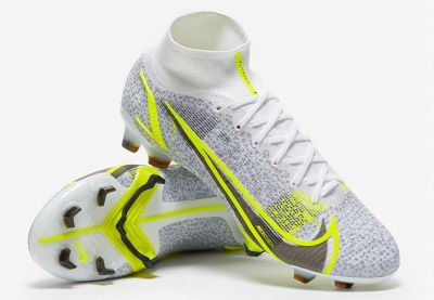 Nike Mercurial Superfly VIII Elite FG White/Black Meatallic/Silver Volt Football